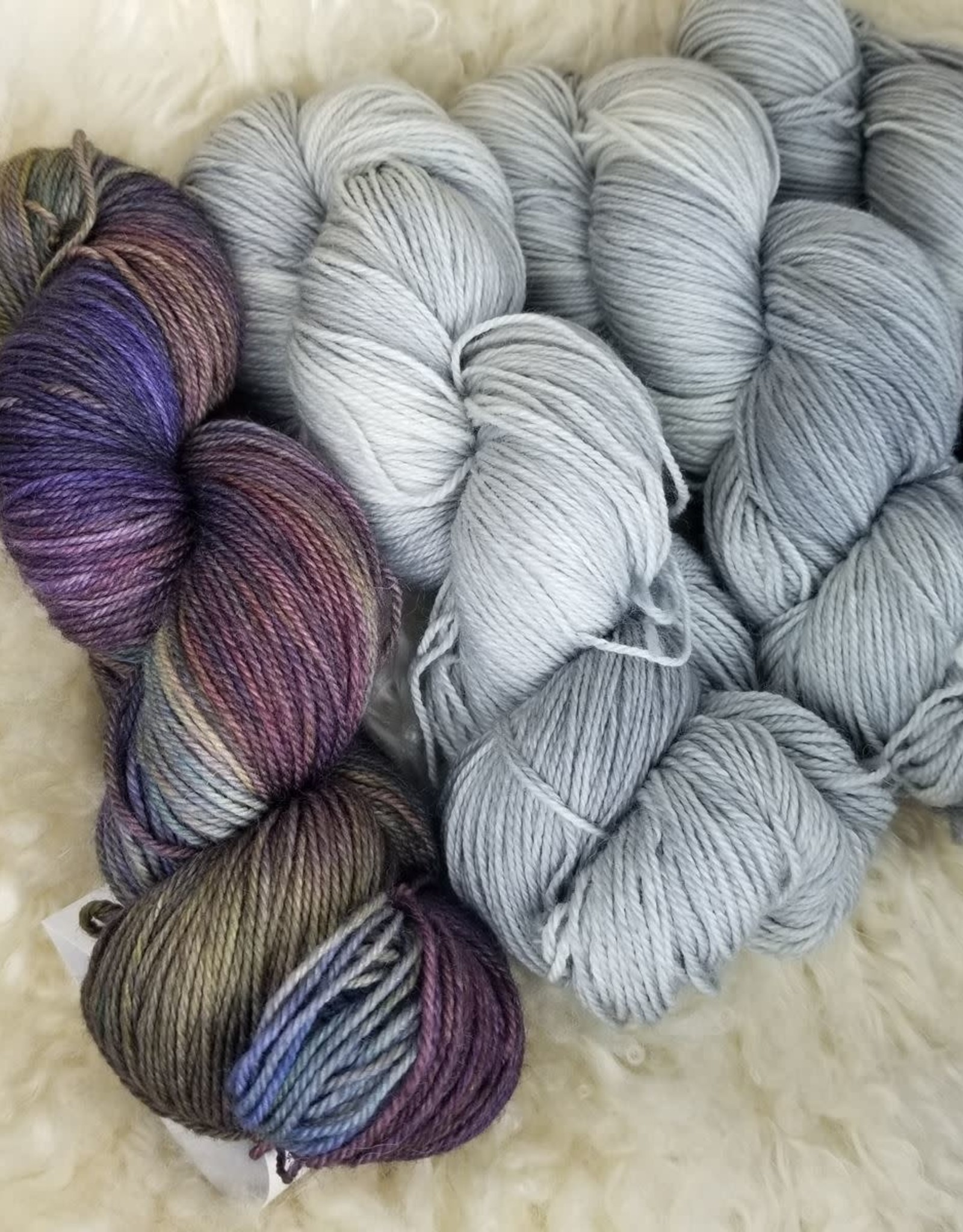 "Palouse Yarn Co KIT Darkwater Pullover Airstream.Iris 3+1 skein, fit to sz 40.75"" bust"