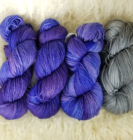 """Palouse Yarn Co KIT Darkwater Pullover UltraViolet 3+1 skein, fit to sz 40.75"""" bust"""