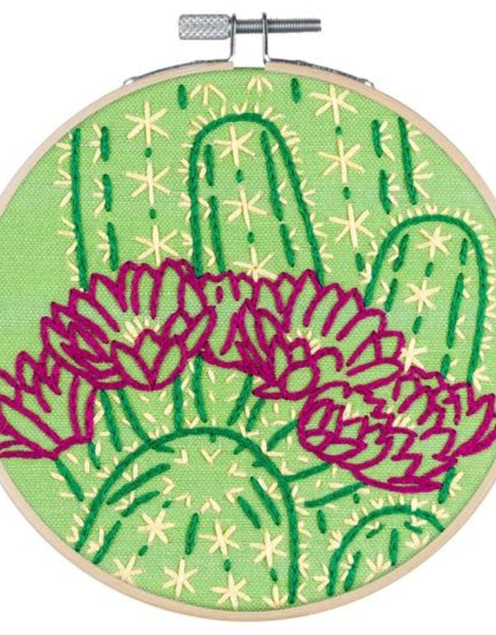 """PopLush Blooming Cactus 5"""" Embroidery Kit"""