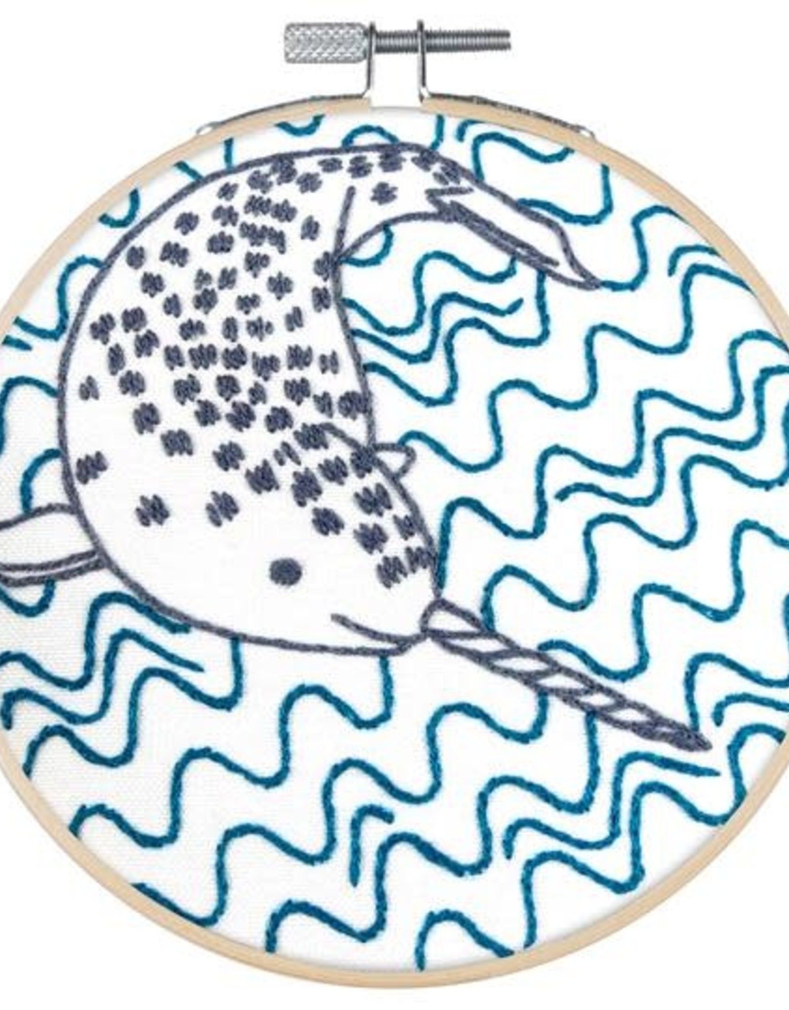 """PopLush Narly Narwhal 5"""" Embroidery Kit"""