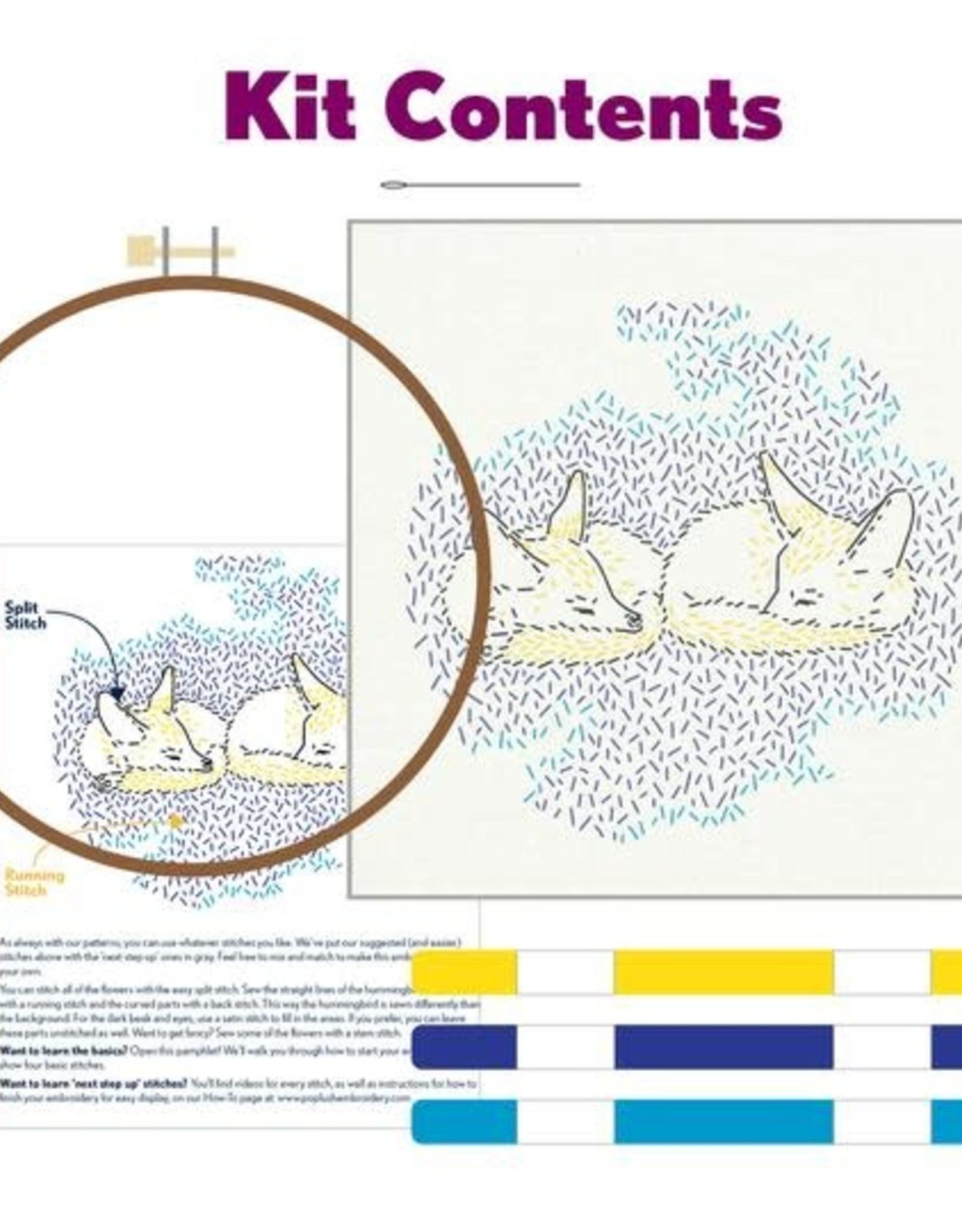 """PopLush Dreaming Foxes 8"""" Embroidery Kit"""