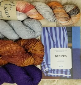KIT Stripes book + HD Sock Yarn Set purple-peony