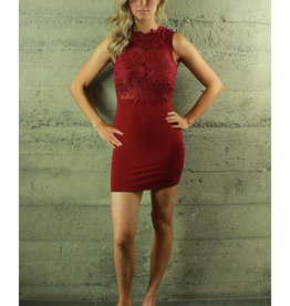 Oh Yes Maricruz Sheer Embroidered Dress Burgundy