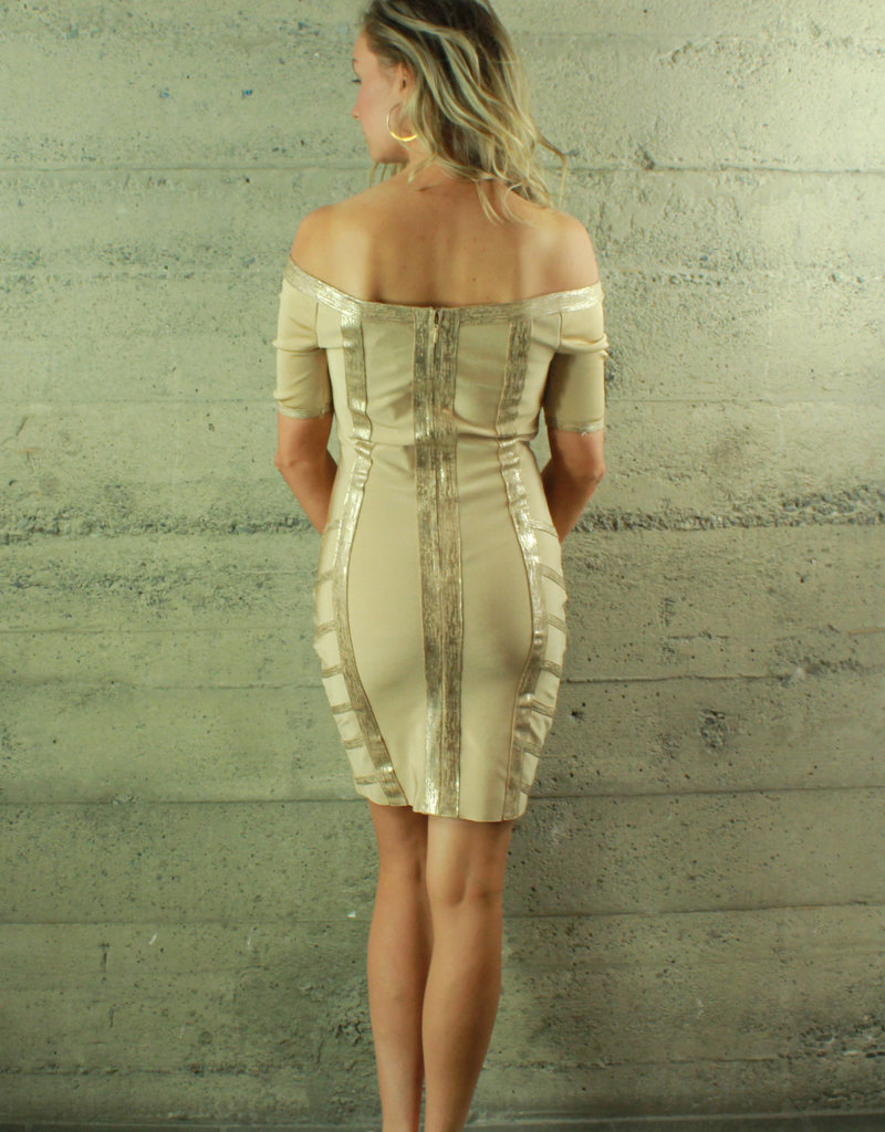 WOW Couture Mila Bandage Dress Champagne
