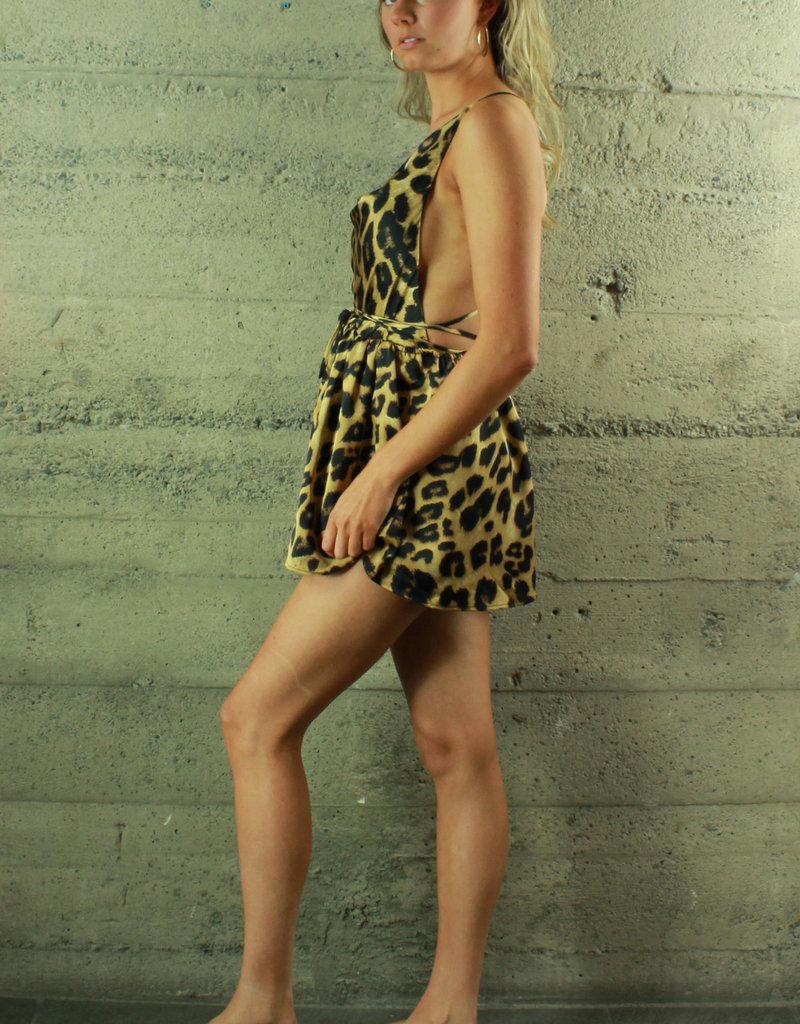 LUXXEL Lora Satin Romper Leopard