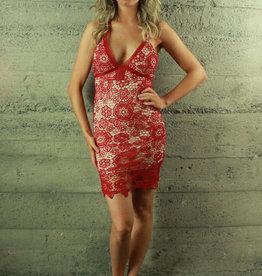 selfie leslie Athena Red Lace Dress