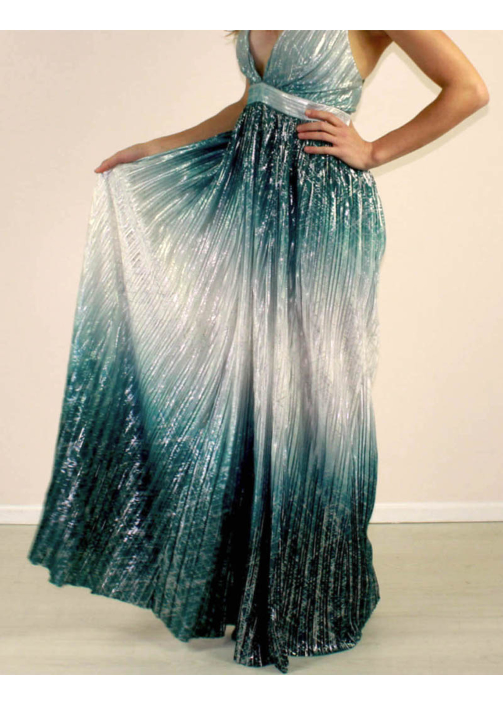 LUXXEL Brylee Gradient Dress Green
