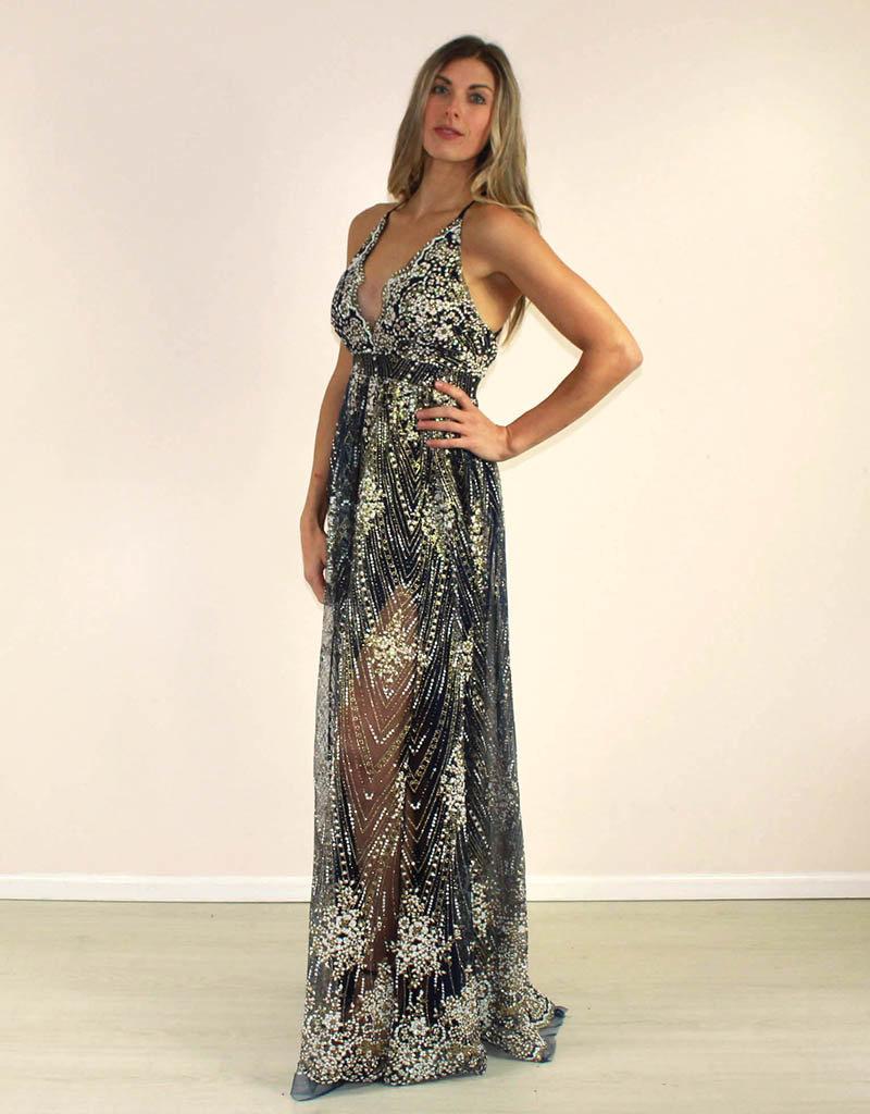 LUXXEL Celine Sequin Dress Navy