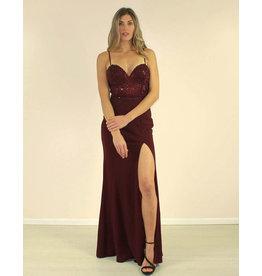 Maniju Tasya Dress Burgundy