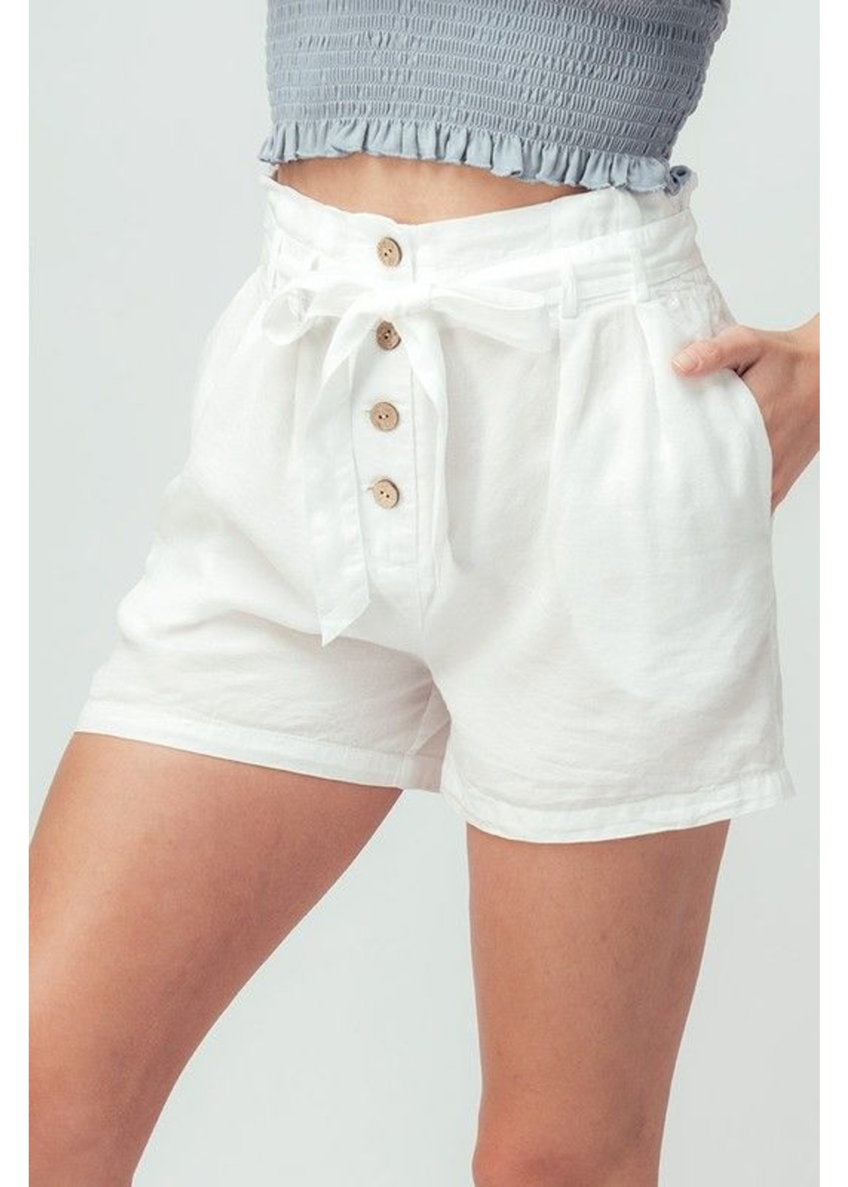 trend : notes Casidi Paper Bag Shorts White