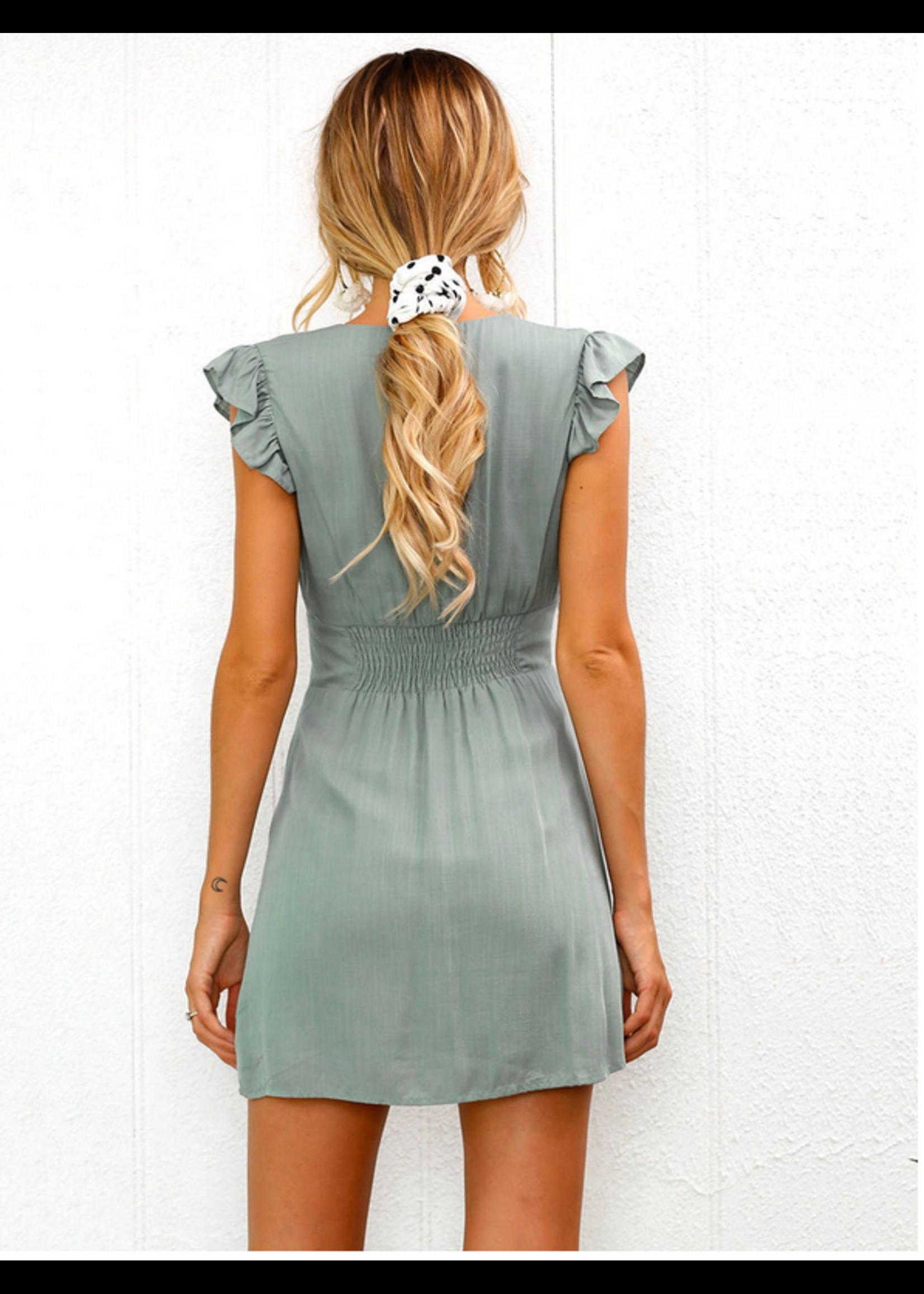 AEXPRESS Kenzie Summer Mini Dress Sage