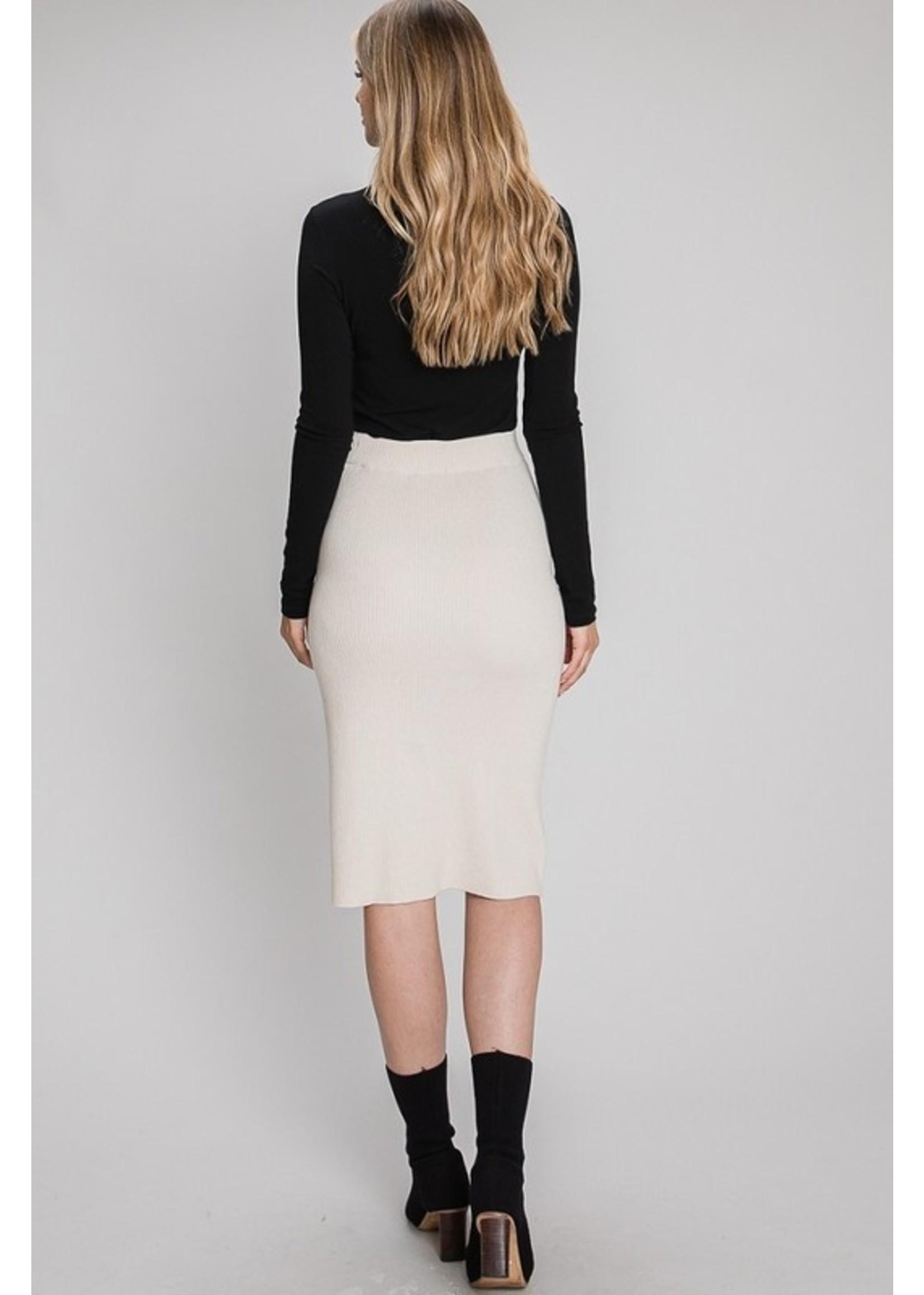 Allie Rose Downtown Girl Pencil Skirt Cream
