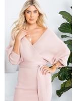 """Sweet Lovely Triple """"S"""" Sweater Dress Blush"""