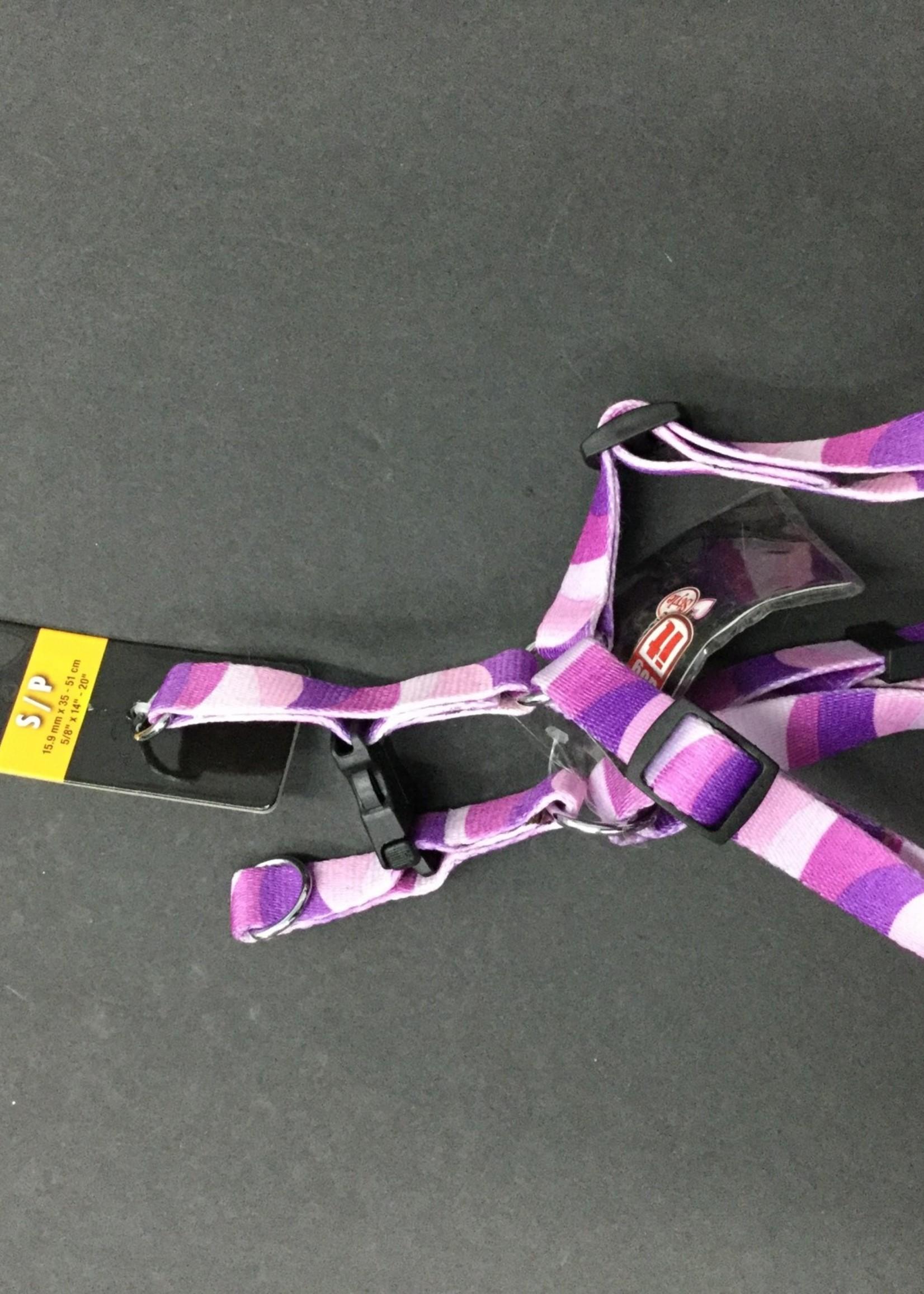 """TD - Dogit Adjustable Harness Small Wild Stripes Purple, 5/8"""" x 14""""-20"""""""