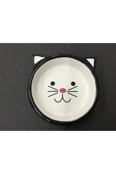 Black Ceramic Cat Bowl 5in