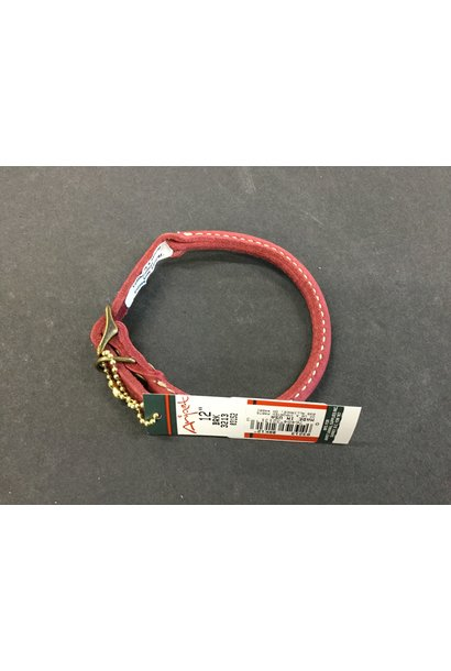"""Rustic Leather Round Collar Red 12"""" x 3/8"""""""