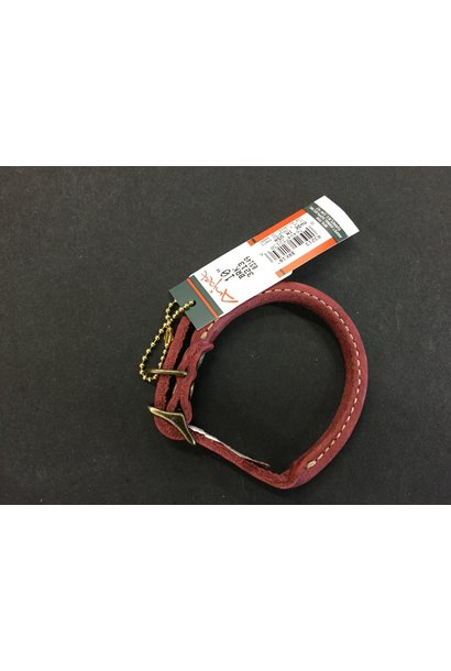 Rustic Leather Round Collar Red 10x3/8