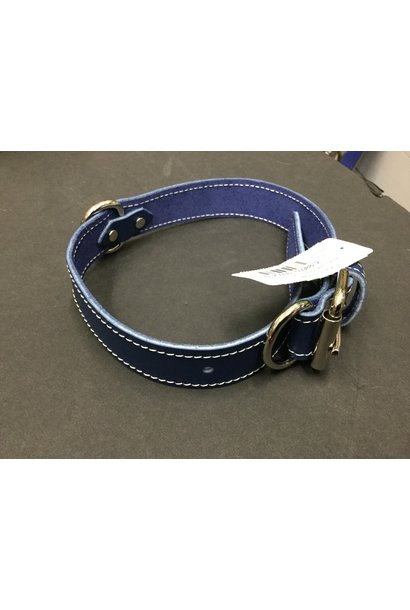 Leather Collar Blue 1 1/4x24in