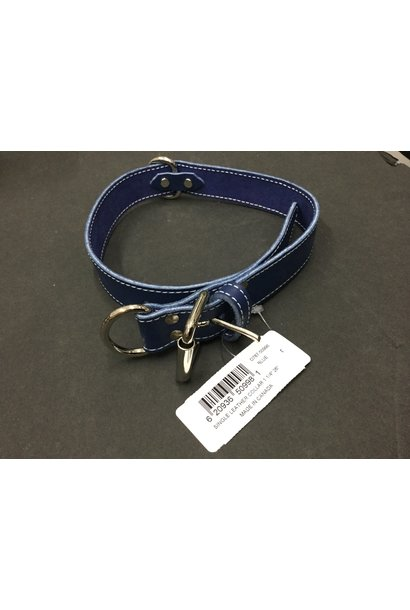 Leather Collar Blue 1 1/4x26in