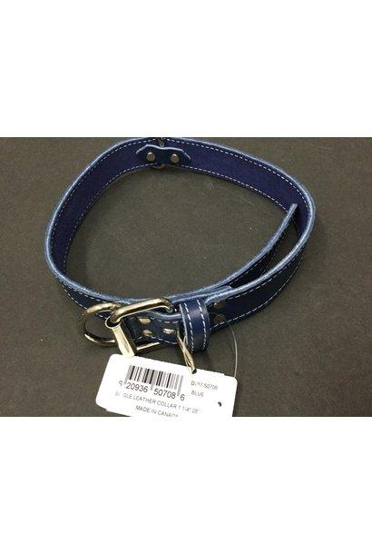 "Leather Collar Blue 1 1/4"" x 28"""