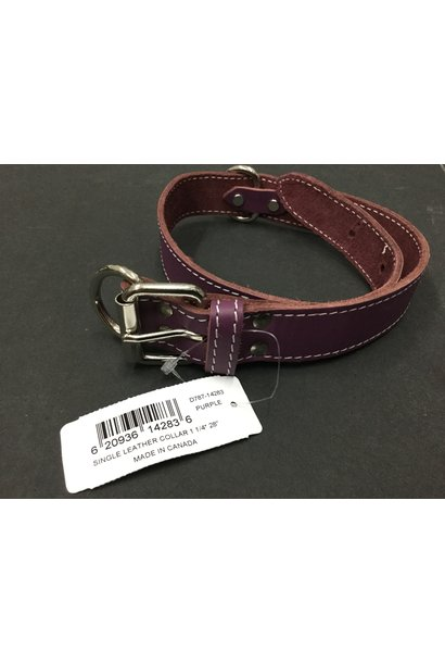 "Leather Collar Purple 28"" x 1 1/4"""