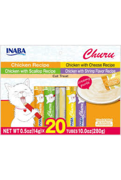 Inaba Churu Puree Chicken 0.5oz Variety Bag 20pk