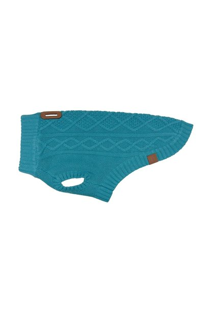 Cable Sweater L Dark Teal