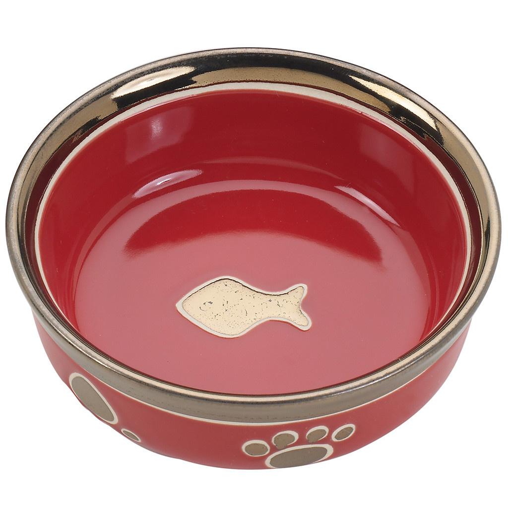 Ritz Copper Rim Cat Dish Red 5in-1