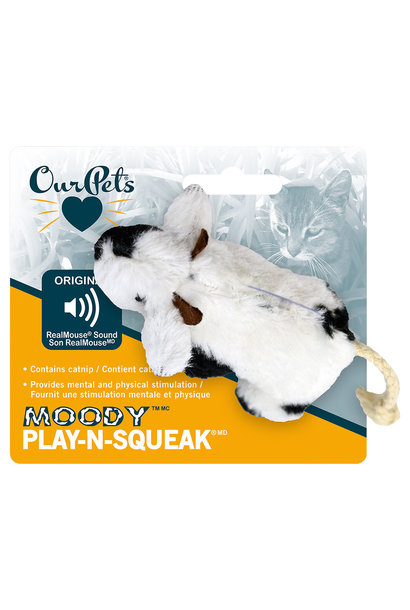 Play N Squeak Plush Moody Cow Catnip