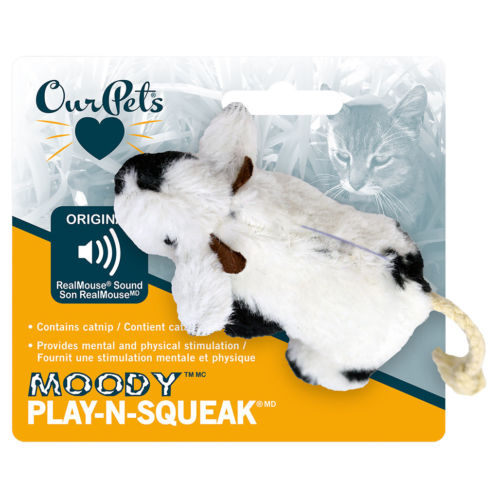 Play N Squeak Plush Moody Cow Catnip-1