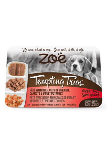Zoe Tempting Trios Dog Beef, Chicken, Sw Potato 100g