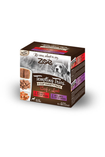 Zoe Tempting Trios 4 Cup Variety - Lamb & Beef 4 x 100g