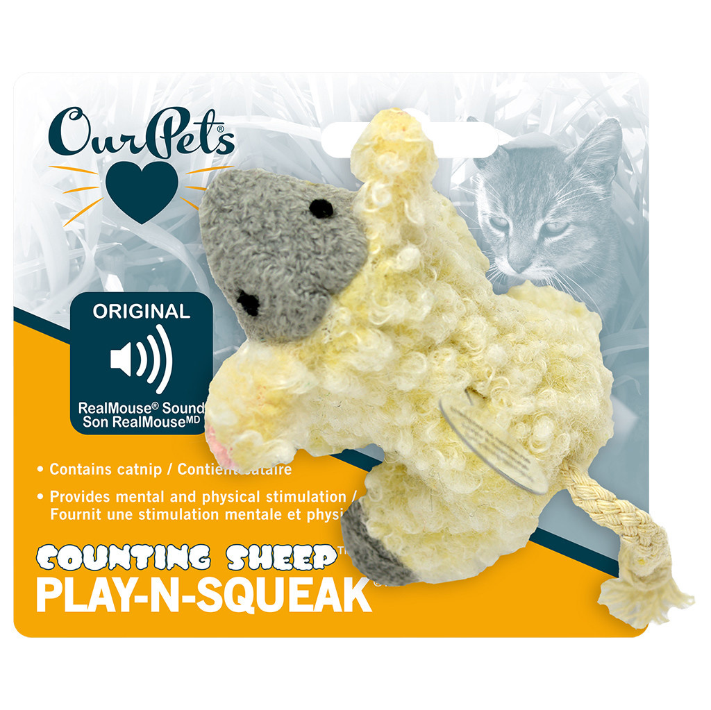Play N Squeak Plush Counting Sheep Catnip-1
