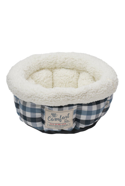 """Round Bed Blue & Gray Plaid 15"""" Cat"""