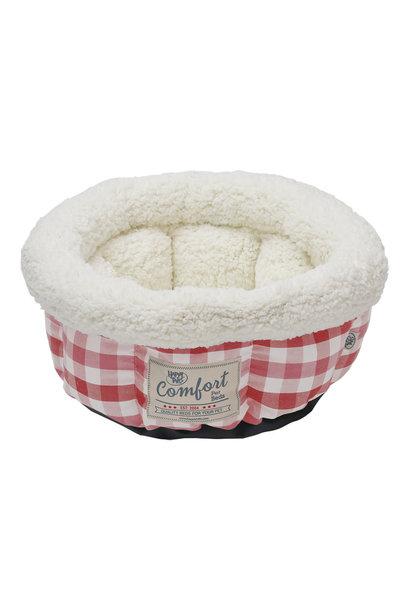 "Round Cat Bed Cranberry Plaid 15"""