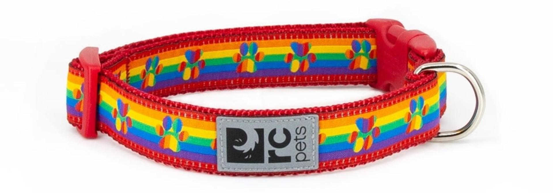 "Clip Collar Large 1"" Rainbow Paws"