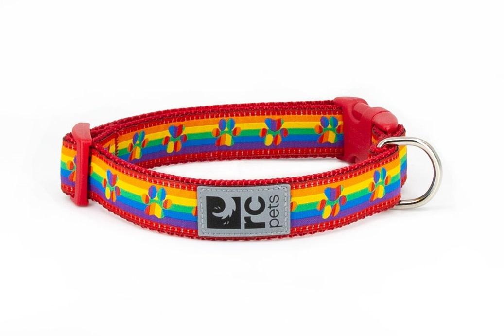 "Clip Collar Large 1"" Rainbow Paws-1"