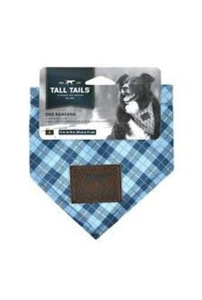 Tall Tails Bandana Blue Plaid-Medium