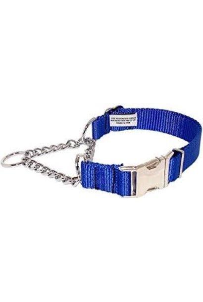 "3/4"" Wide  Martingale Style Nylon Dog Collar Royal Blue"