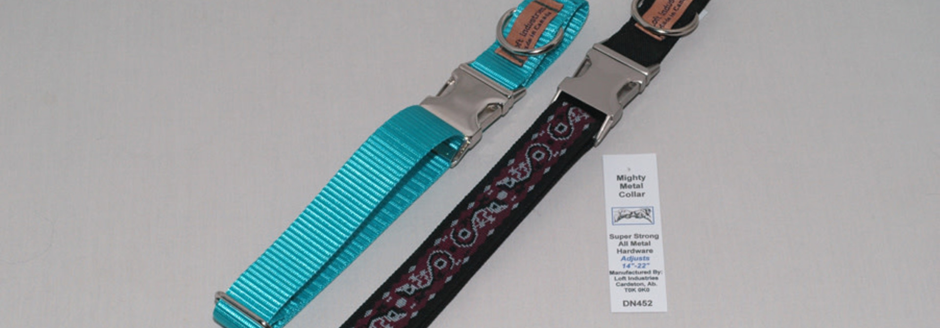 "1"" Adjustable Collar with Metal Double Bar Buckle Black"
