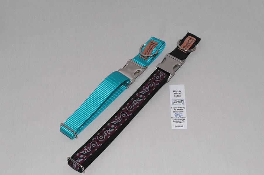 "1"" Adjustable Collar with Metal Double Bar Buckle Black-1"