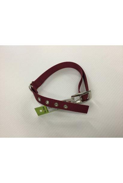 "1"" Adjustable Collar with Metal Double Bar Buckle Burgundy"