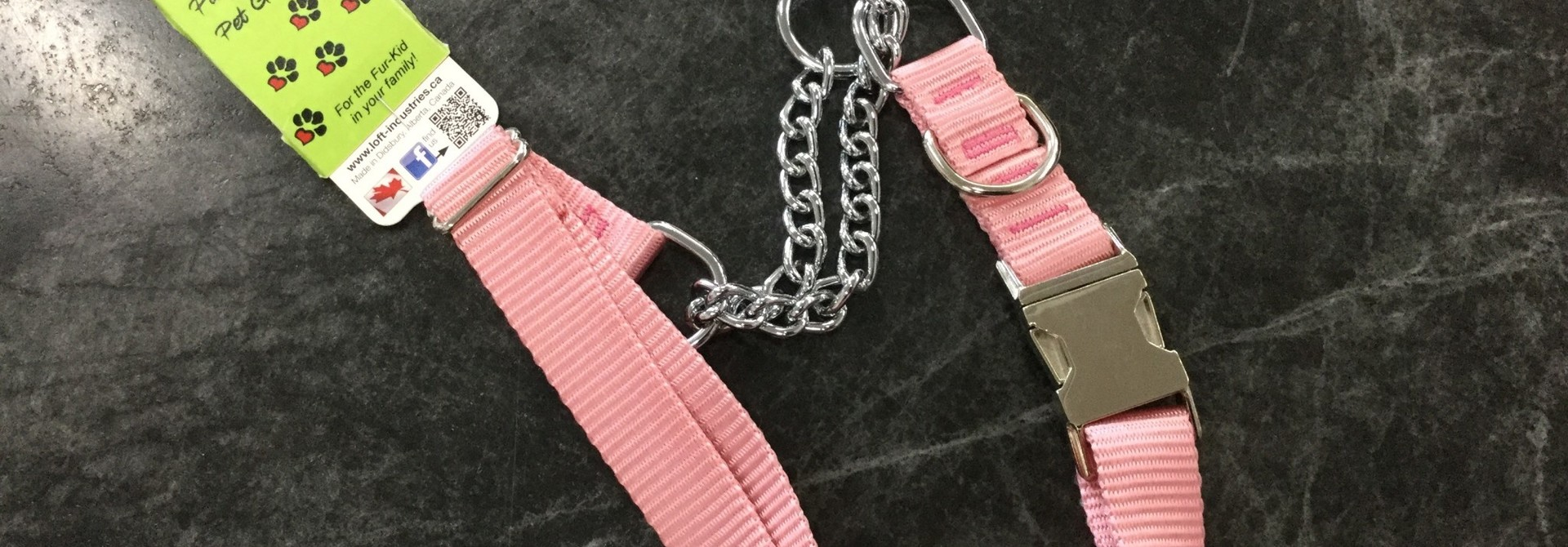 """1"""" Wide Quick-Release Martingale Style Adjustable Nylon Training Collars Pink 23-36"""""""
