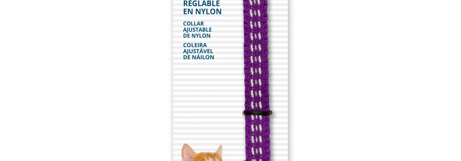 CatIt Ajustable Nylon Collar-Reflective 20-30cm-Purple