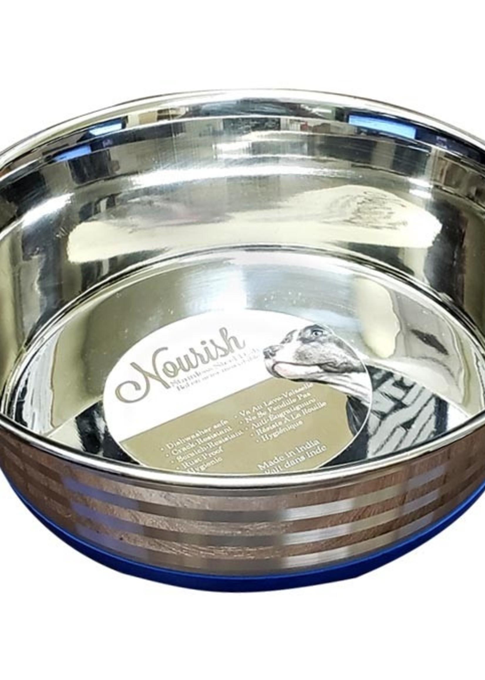 Nourish Stainless Steel Anti-Skid Bowl - Heavy - Stripes 40oz