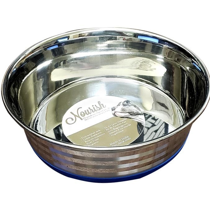 Stainless Steel Anti-Skid Bowl - Heavy - Stripes 60oz-1