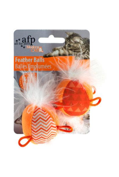 AFP Modern Cat Feather Balls w/Sound, 2pk