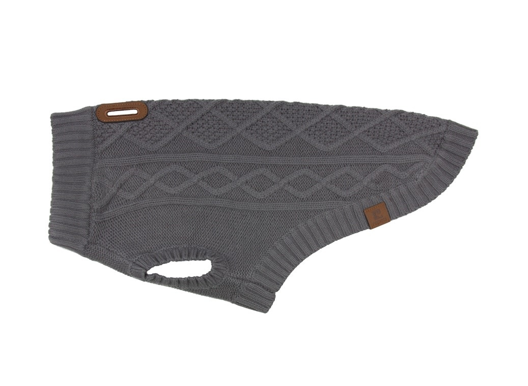 Cable Sweater M Charcoal-2