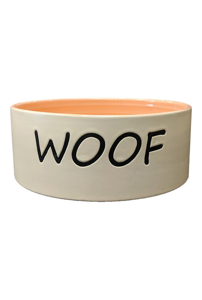 Woof Dog Dish Coral 7""