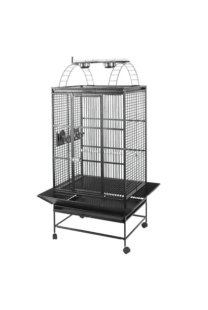HARI Playtop Parrot Cage - Silver Antique Black - 76 L x 61 W x 178 H cm (30 in x 24 in x 70 in)